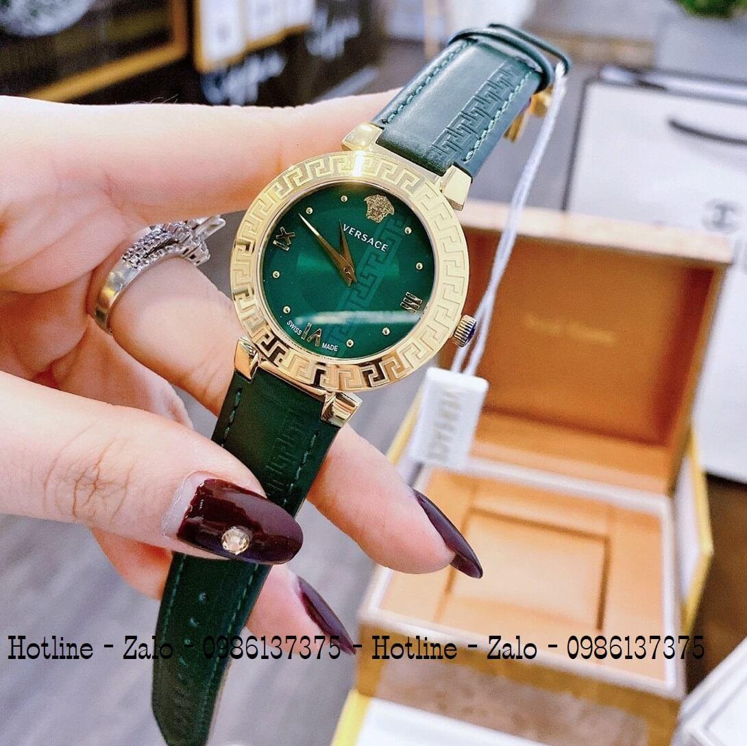 Đồng Hồ Nữ Versace Daphnis Dây Da Xanh Đậm 35mm