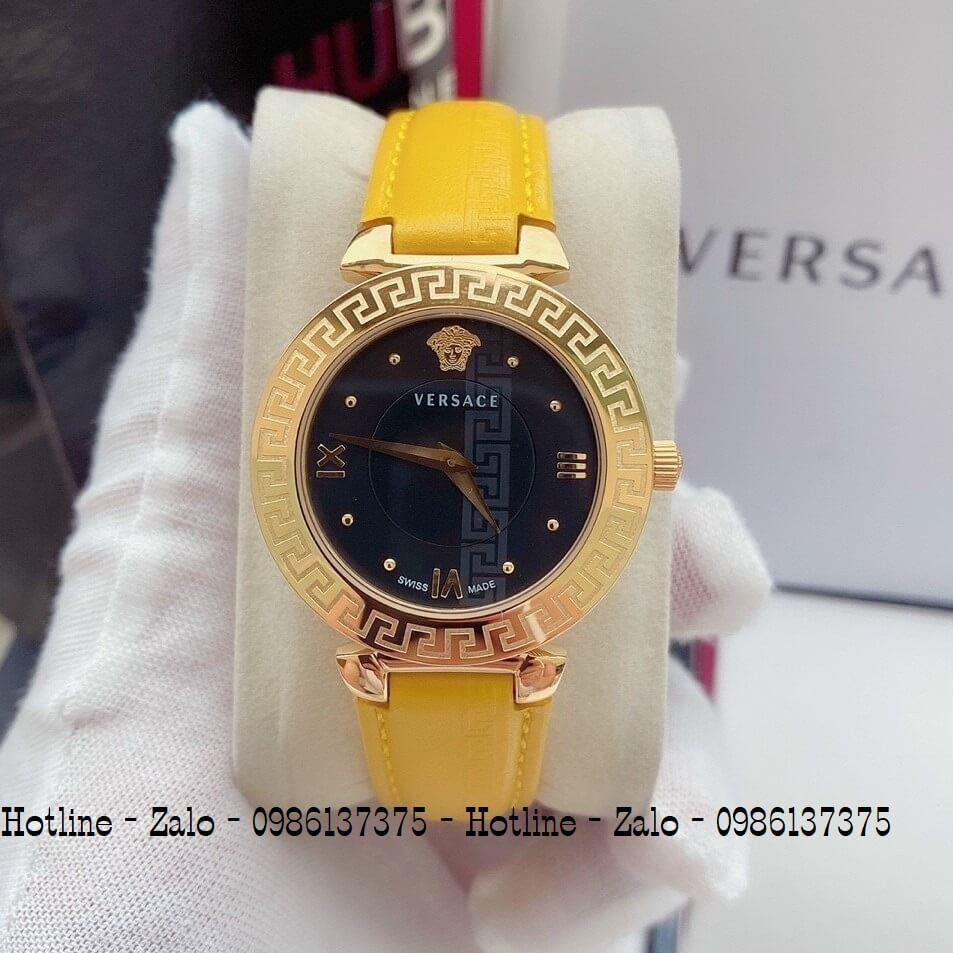 Đồng Hồ Nữ Versace Daphnis Dây Da Vàng Mặt Đen 35mm