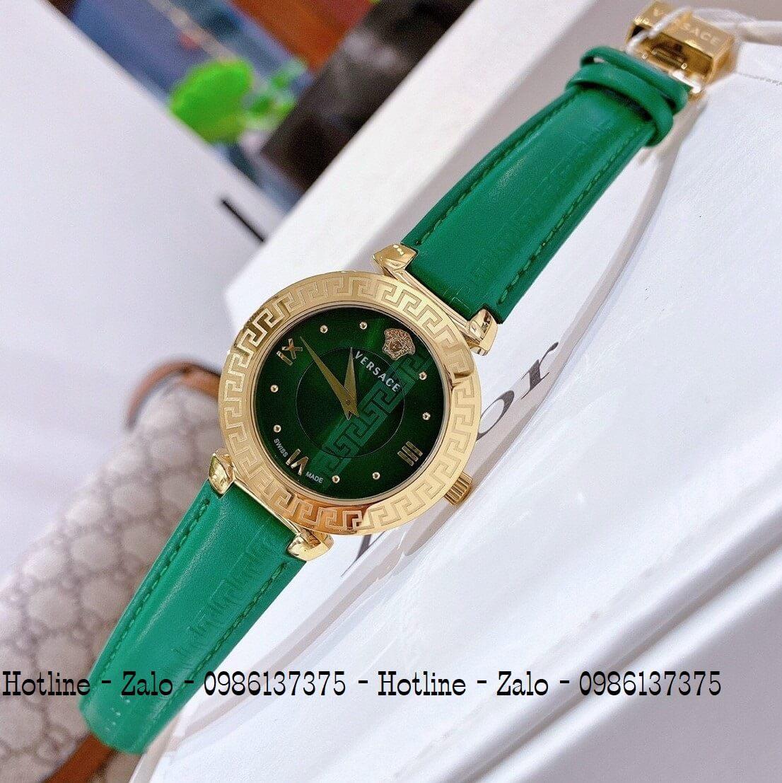 Đồng Hồ Nữ Versace Daphnis Dây Da Xanh Gold 35mm