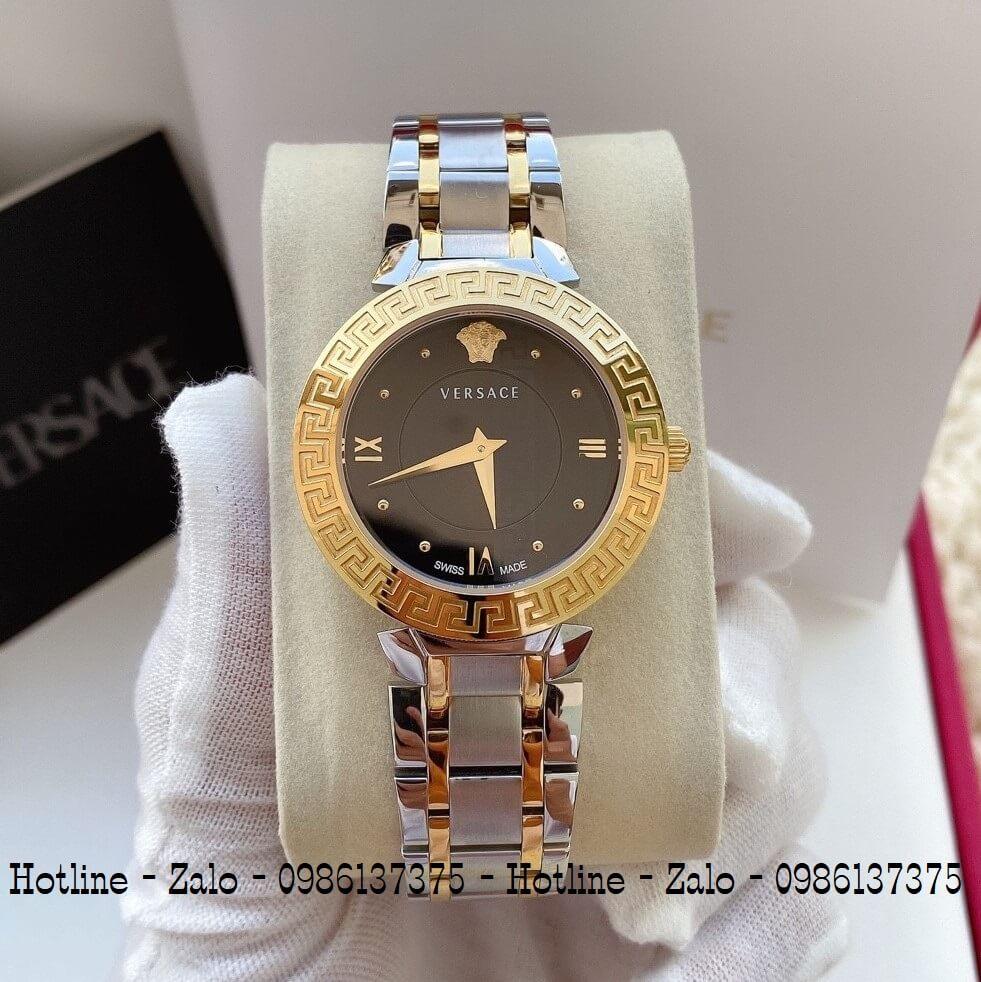 Đồng Hồ Versace Daphnis Demi Vàng Mặt Đen Nữ 35mm