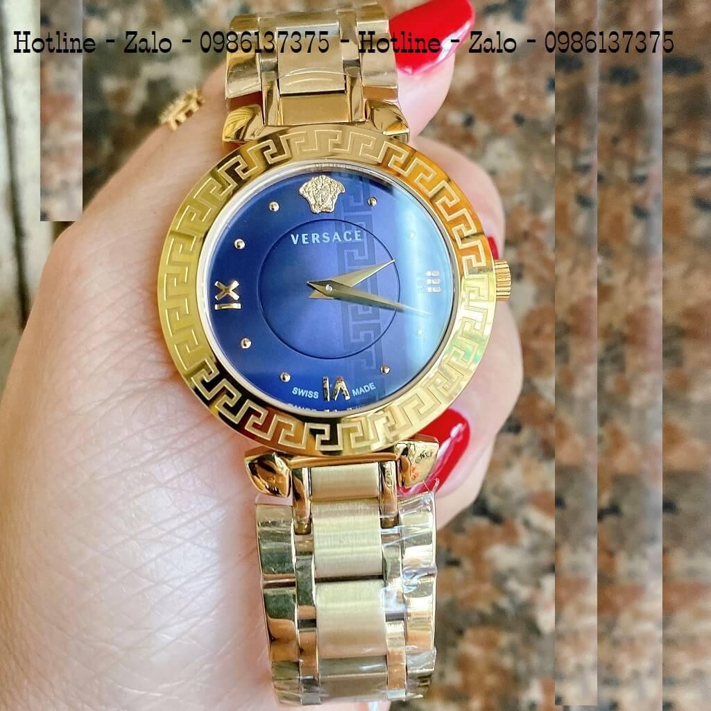 Đồng Hồ Versace Daphnis Vàng Mặt Xanh Nữ 35mm