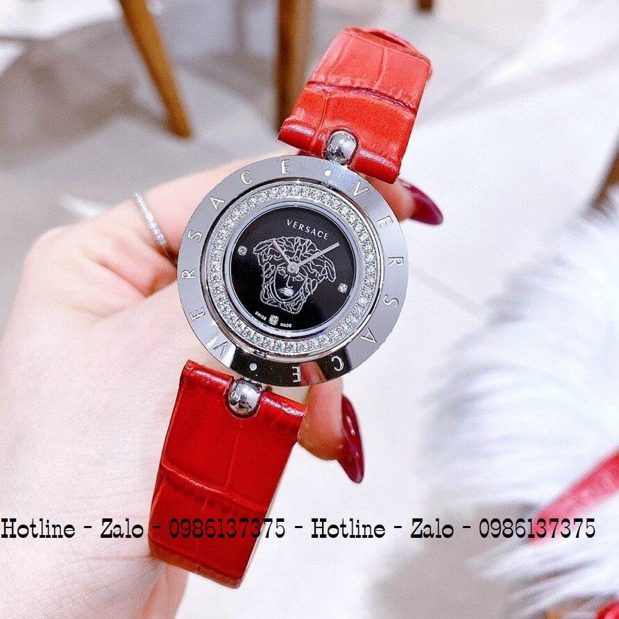 Đồng Hồ Versace Eon Nữ Dây Da Đỏ Silver Mặt Đen Xoay 34mm