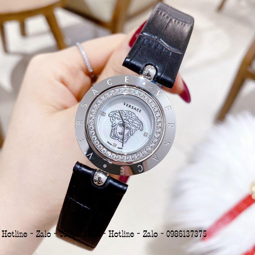 Đồng Hồ Versace Eon Nữ Dây Da Đen Silver Mặt Trắng Xoay 34mm