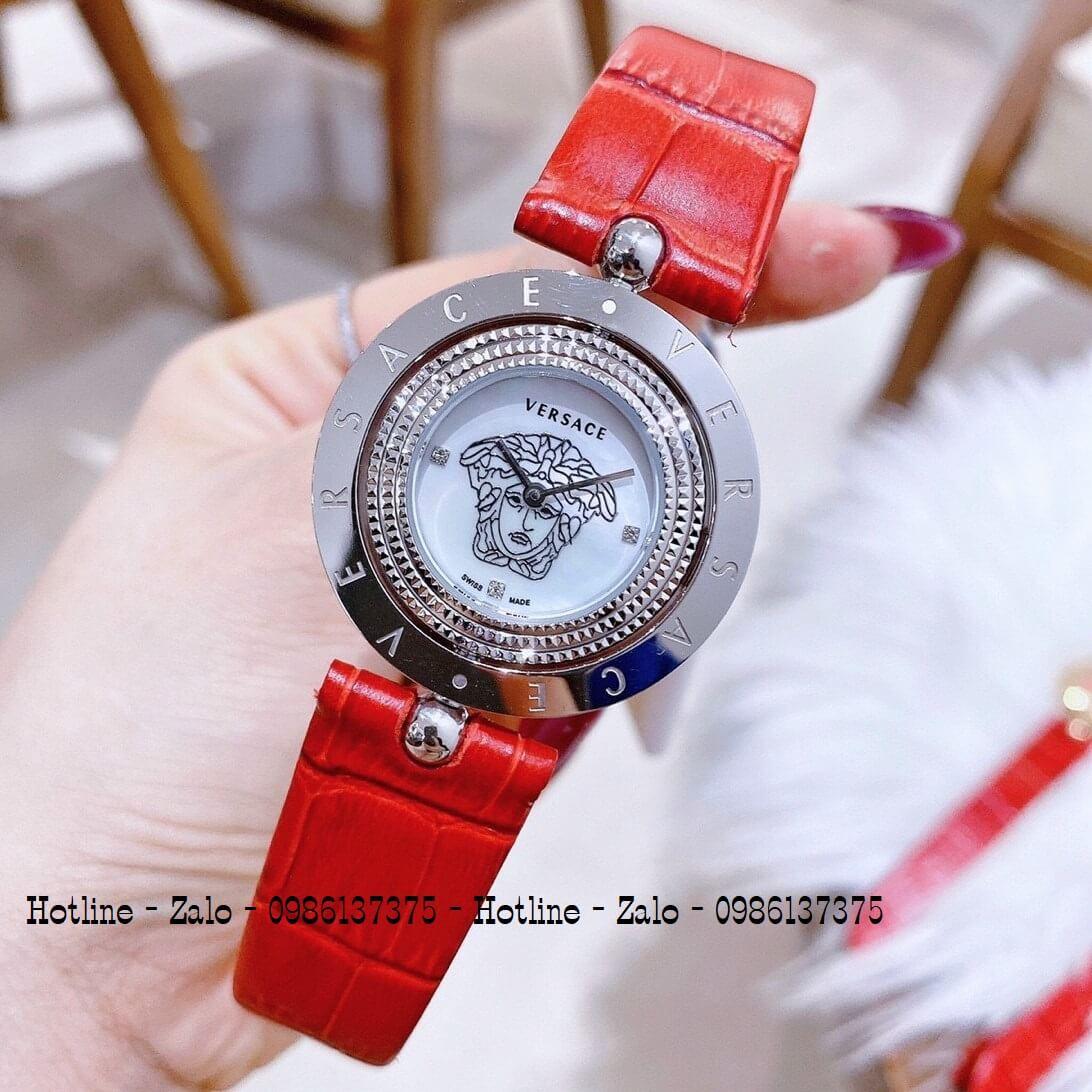 Đồng Hồ Versace Eon Nữ Dây Da Đỏ Silver Mặt Xoay 34mm