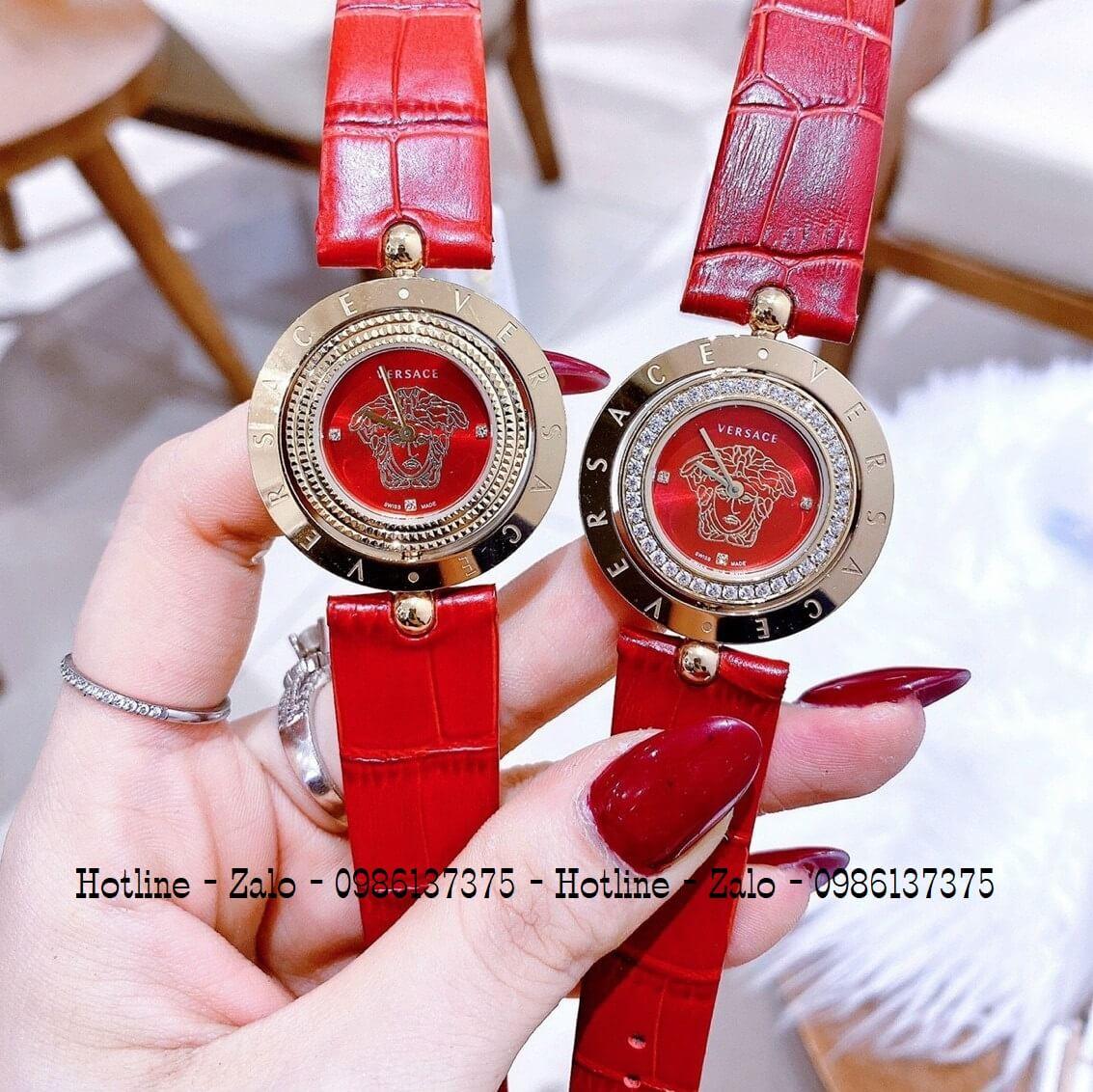 Đồng Hồ Versace Eon Nữ Dây Da Đỏ Gold Mặt Xoay 34mm