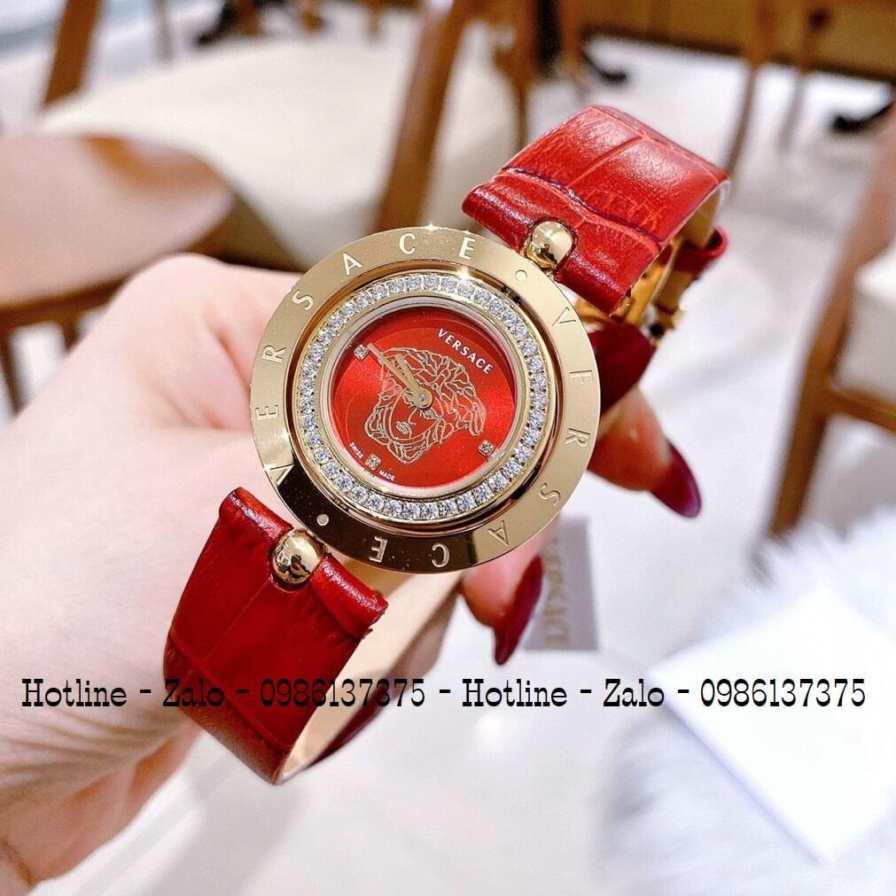 Đồng Hồ Versace Eon Nữ Dây Da Đỏ Gold Mặt Đỏ Xoay 34mm