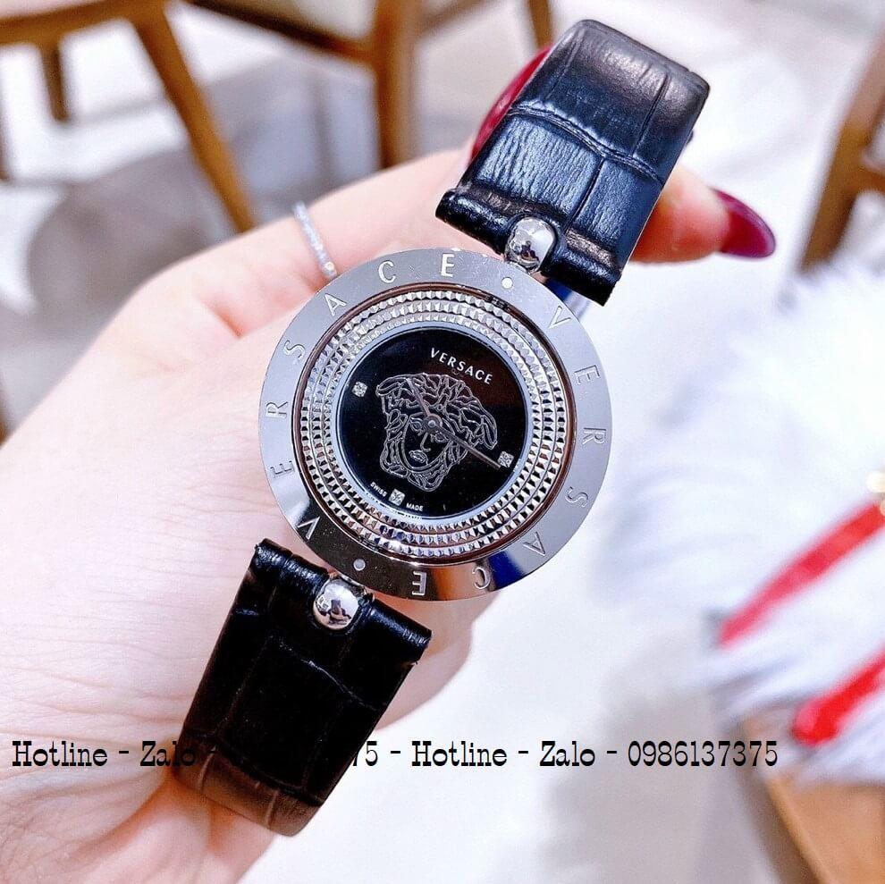 Đồng Hồ Versace Eon Nữ Dây Da Đen Silver Mặt Xoay 34mm