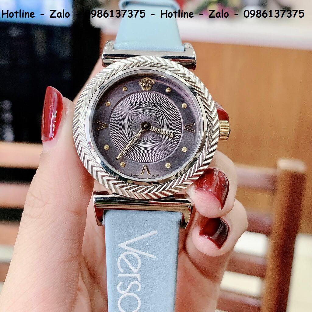 Đồng Hồ Nữ Versace V-Motif Vintage Logo 35mm Dây Da Xanh Silver