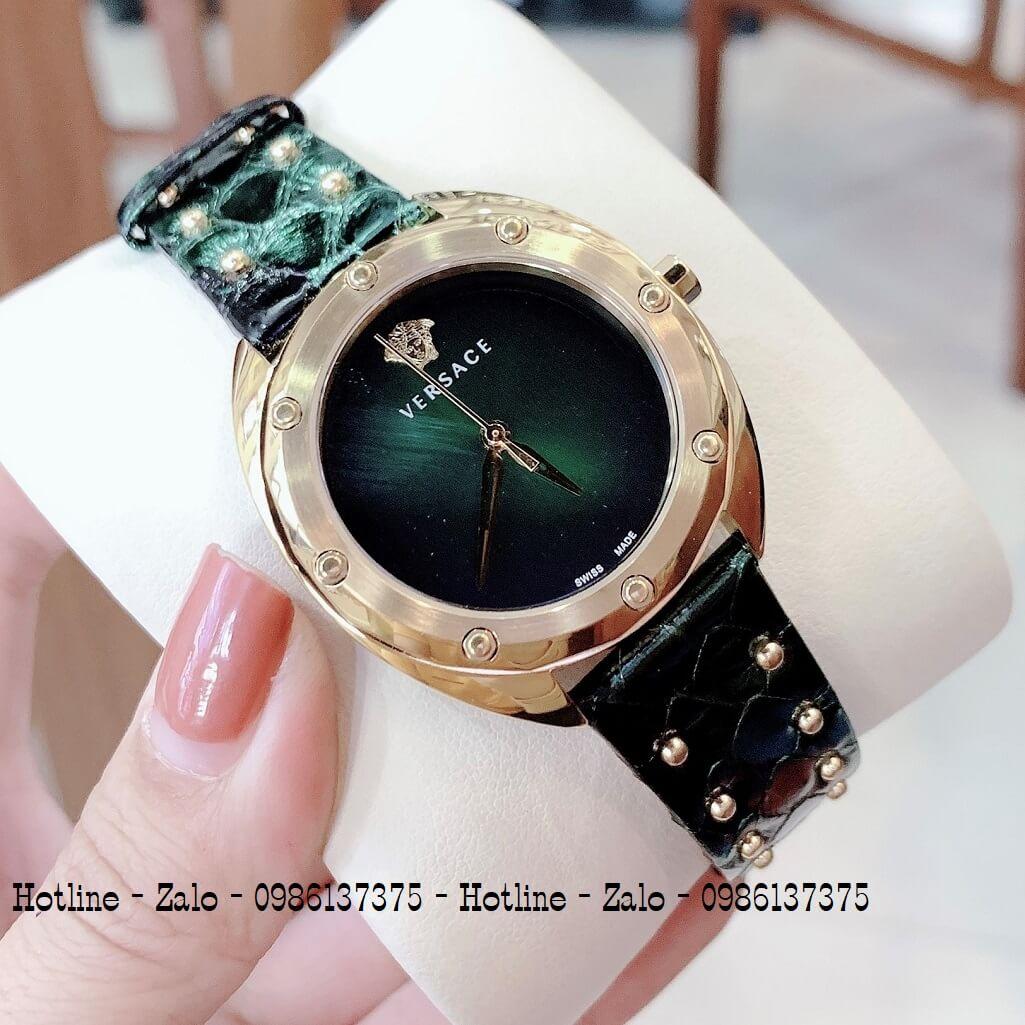 Đồng Hồ Nữ Versace Shadov Dây Da Xanh Rêu 38mm Gold