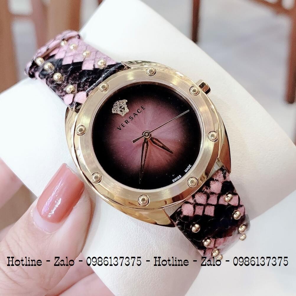 Đồng Hồ Nữ Versace Shadov Dây Da Tím 38mm Gold