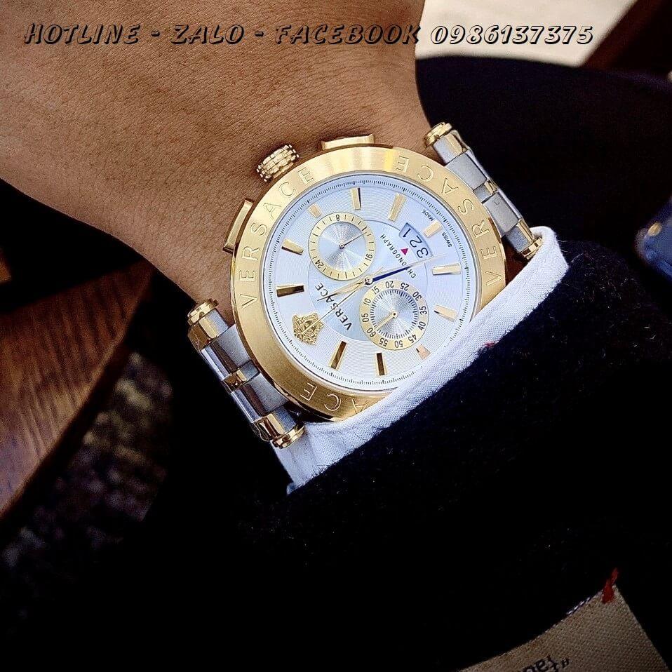 Đồng Hồ Cặp Versace Aion 44mm - Versace Daphnis 35mm - Demi Trắng