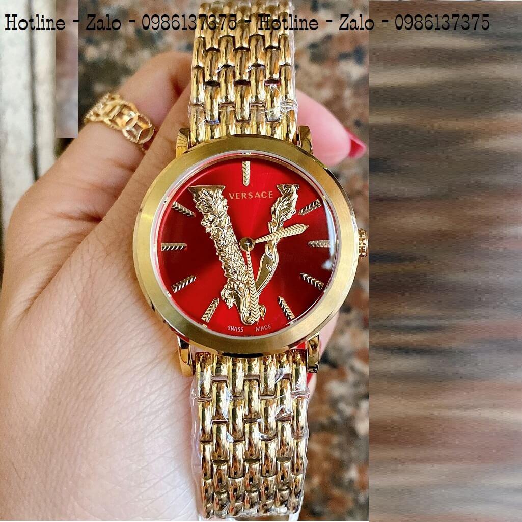 Đồng Hồ Versace Virtus Vàng Mặt Đỏ 35mm Nữ
