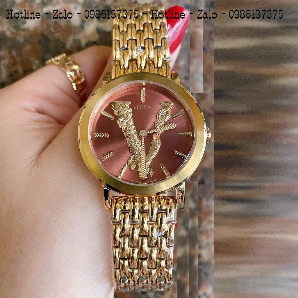 Đồng Hồ Versace Virtus Vàng Mặt Nâu 35mm Nữ