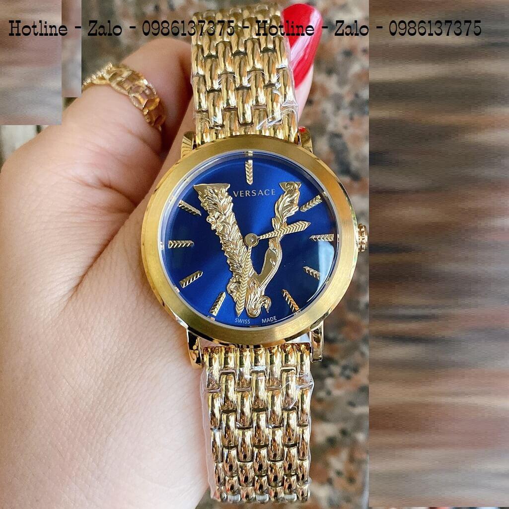 Đồng Hồ Versace Virtus Vàng Mặt Xanh Dương 35mm Nữ