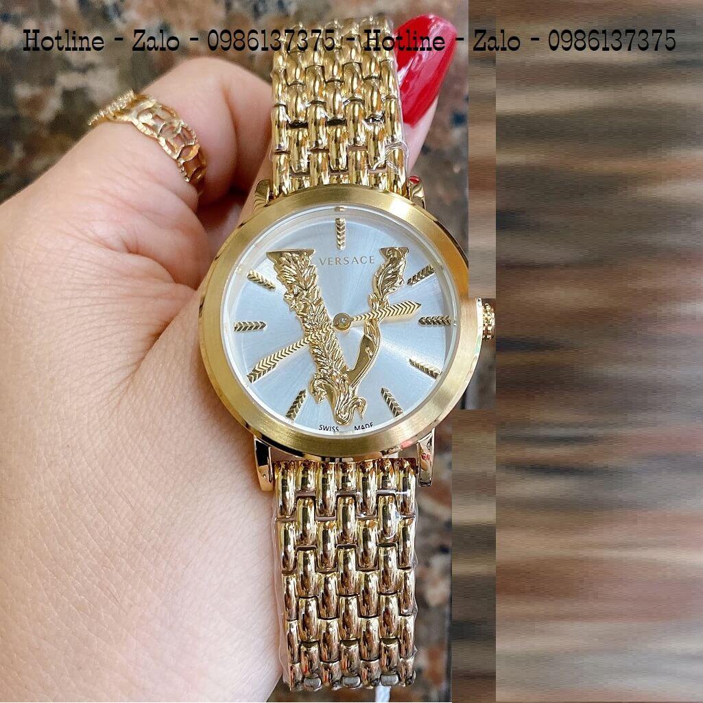 Đồng Hồ Versace Virtus Vàng Mặt Trắng 35mm Nữ