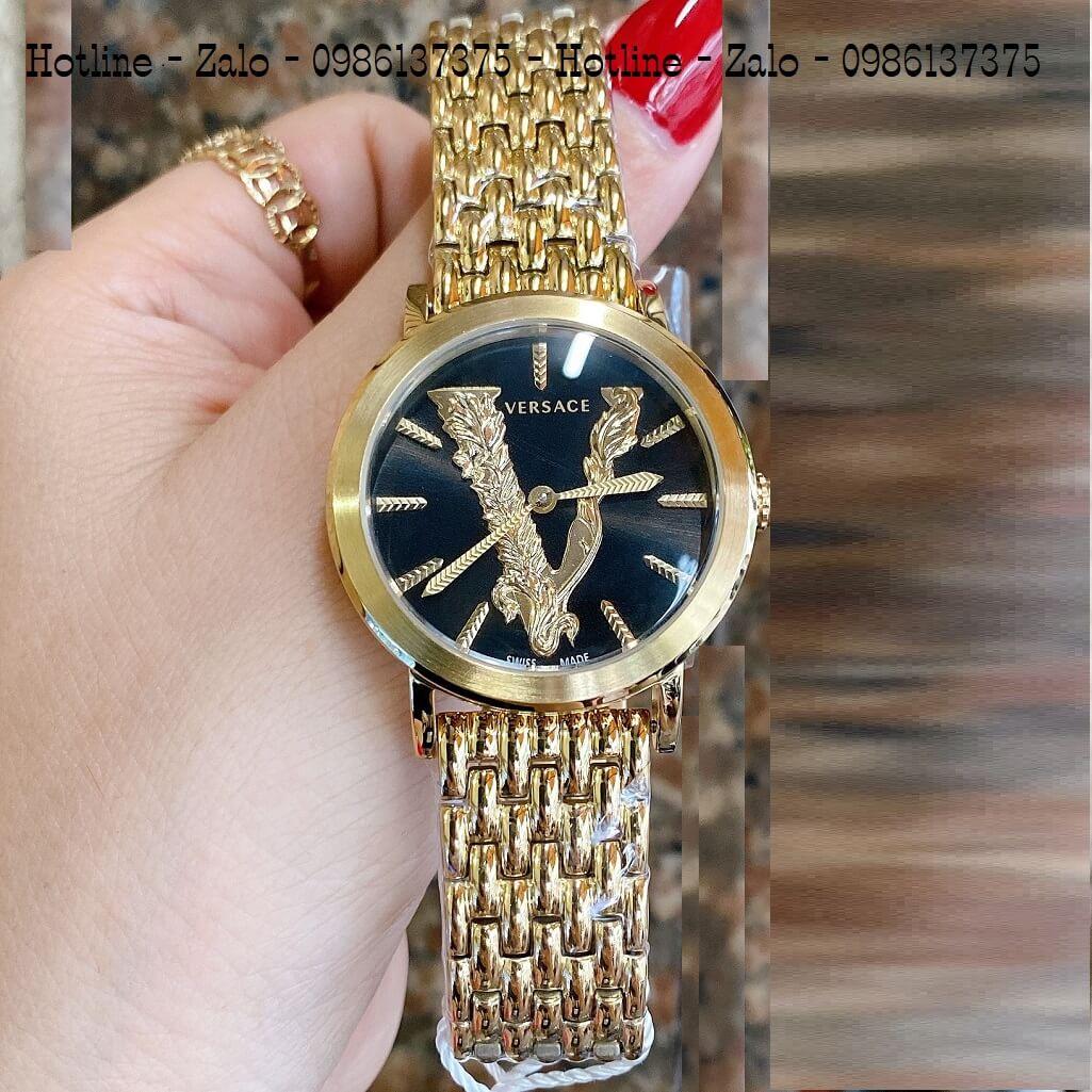 Đồng Hồ Versace Virtus Vàng Mặt Đen 35mm Nữ