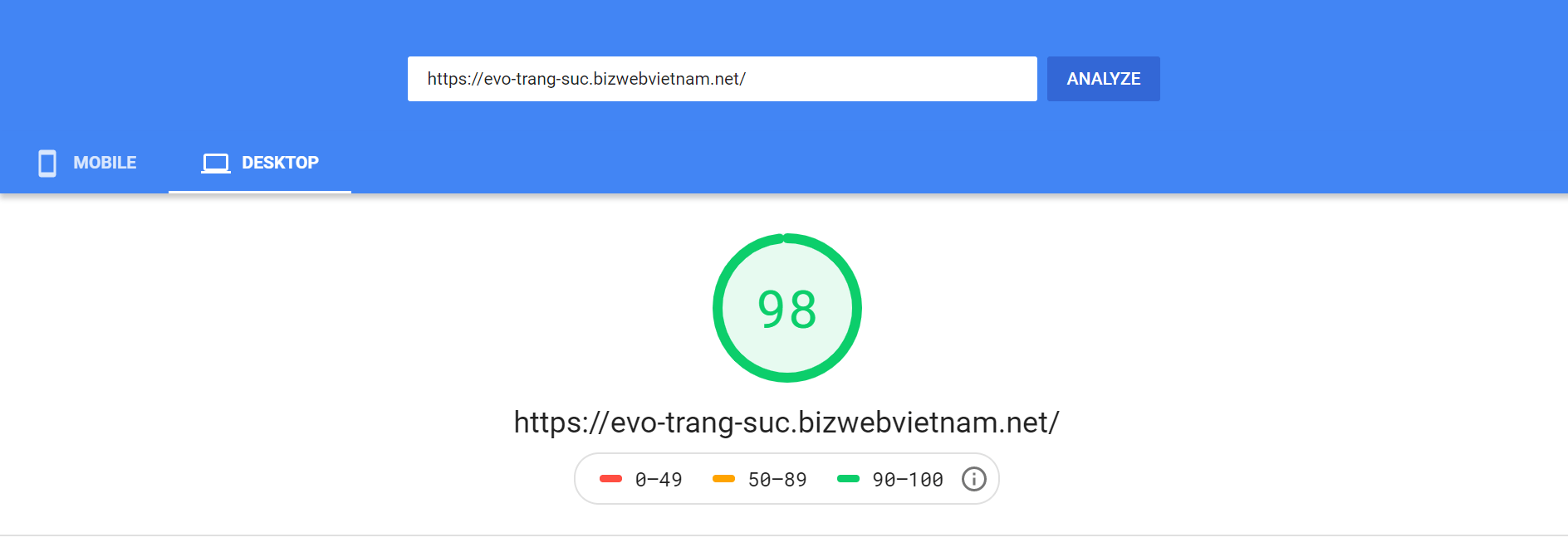 Evo Trang Sức Google Speed Insight