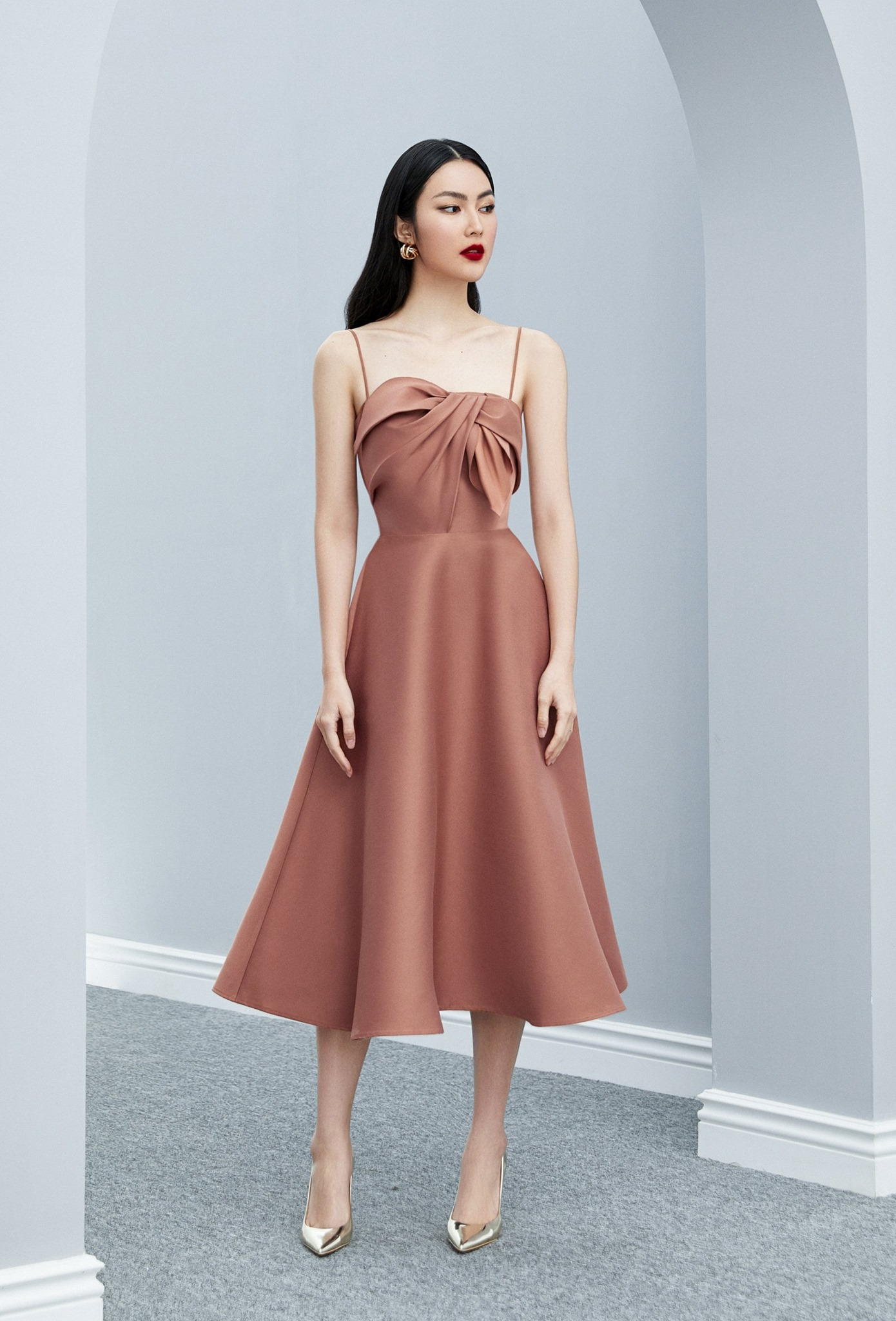Đầm xoè 2 dây nơ ngực #2650