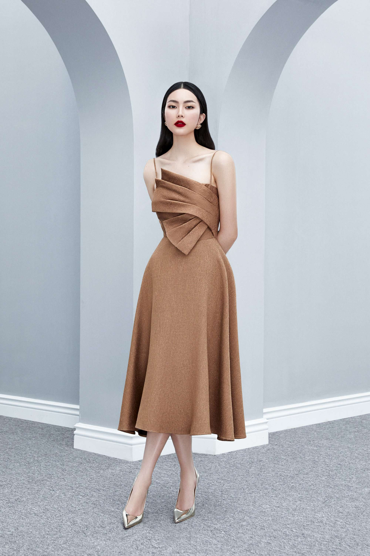 Đầm xòe 2 dây bèo xếp ly  váy ren #2607