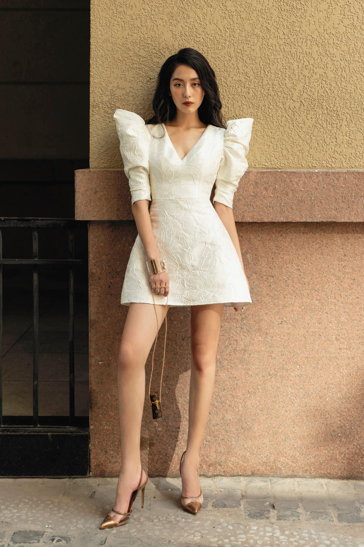 Đầm A tay phồng cổ V #2787