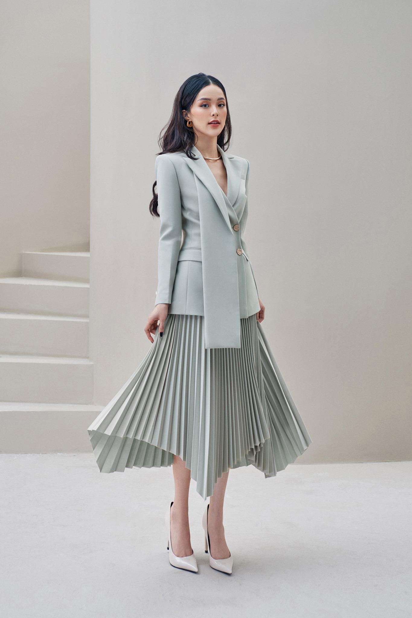 Set áo vest váy dập ly #2948
