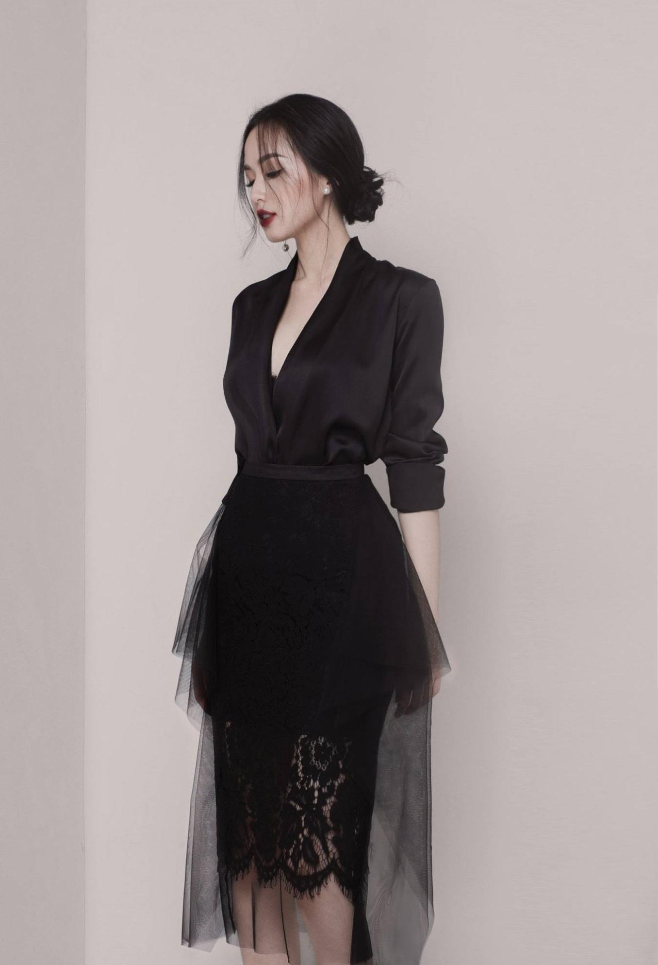 Set váy ao tay dài váy phối lưới #1631