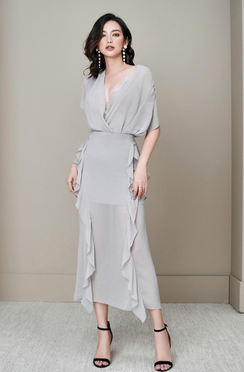 Set voan áo tay liền váy bèo hông thiết kế tinh tế cao cấp #1812