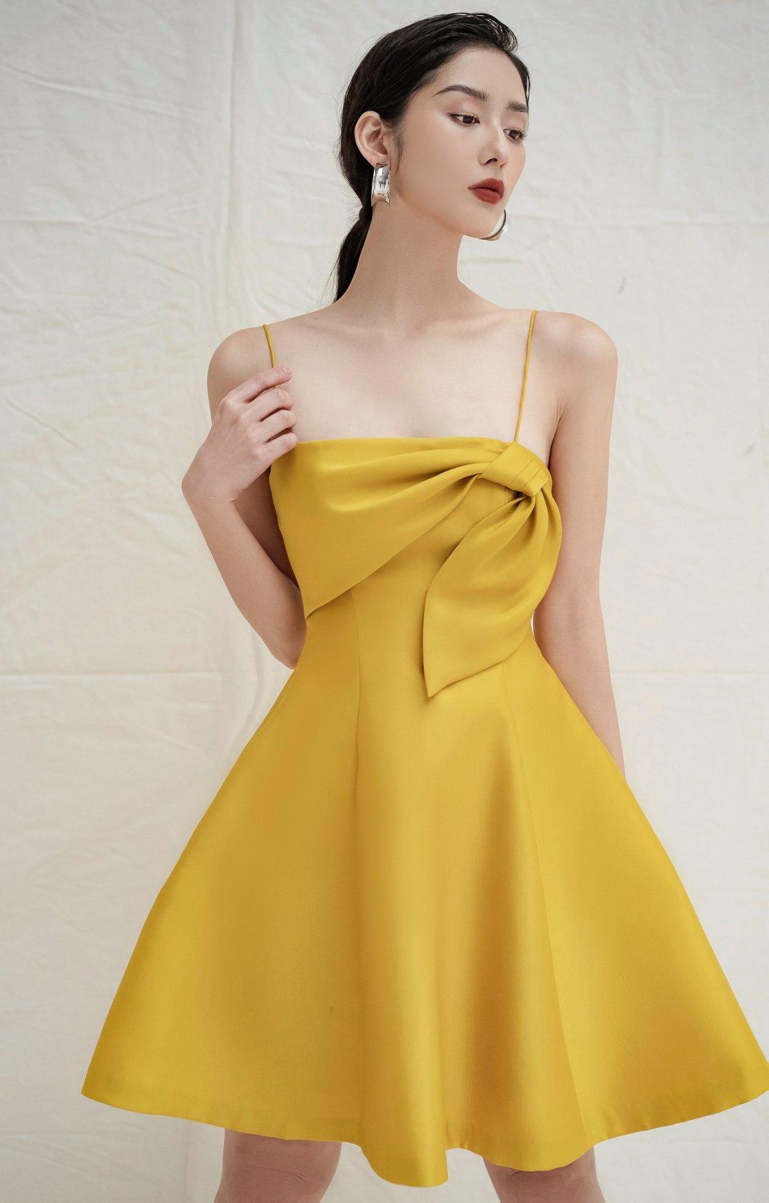 Đầm xoè 2 dây nơ kiểu #2691