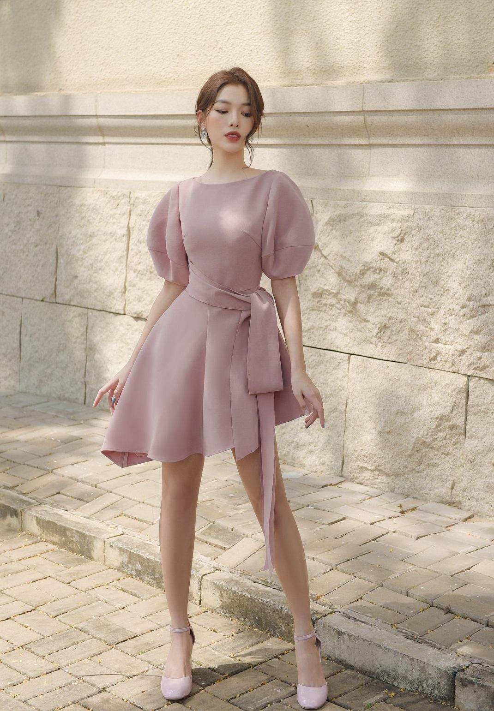 Đầm xòe cổ tròn tay phồng #2624