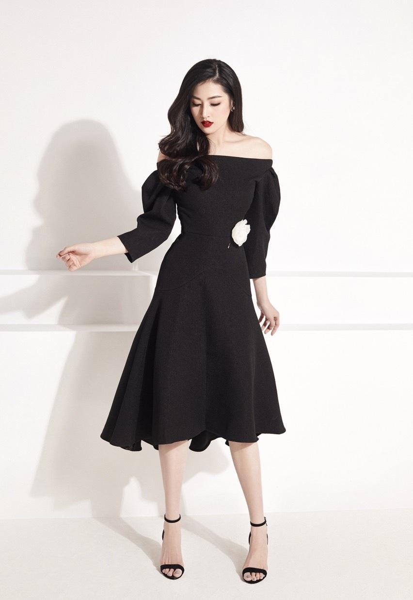 Đầm xòe vai ngang tay xếp ly thiết kế quyến rũ cao cấp #2243