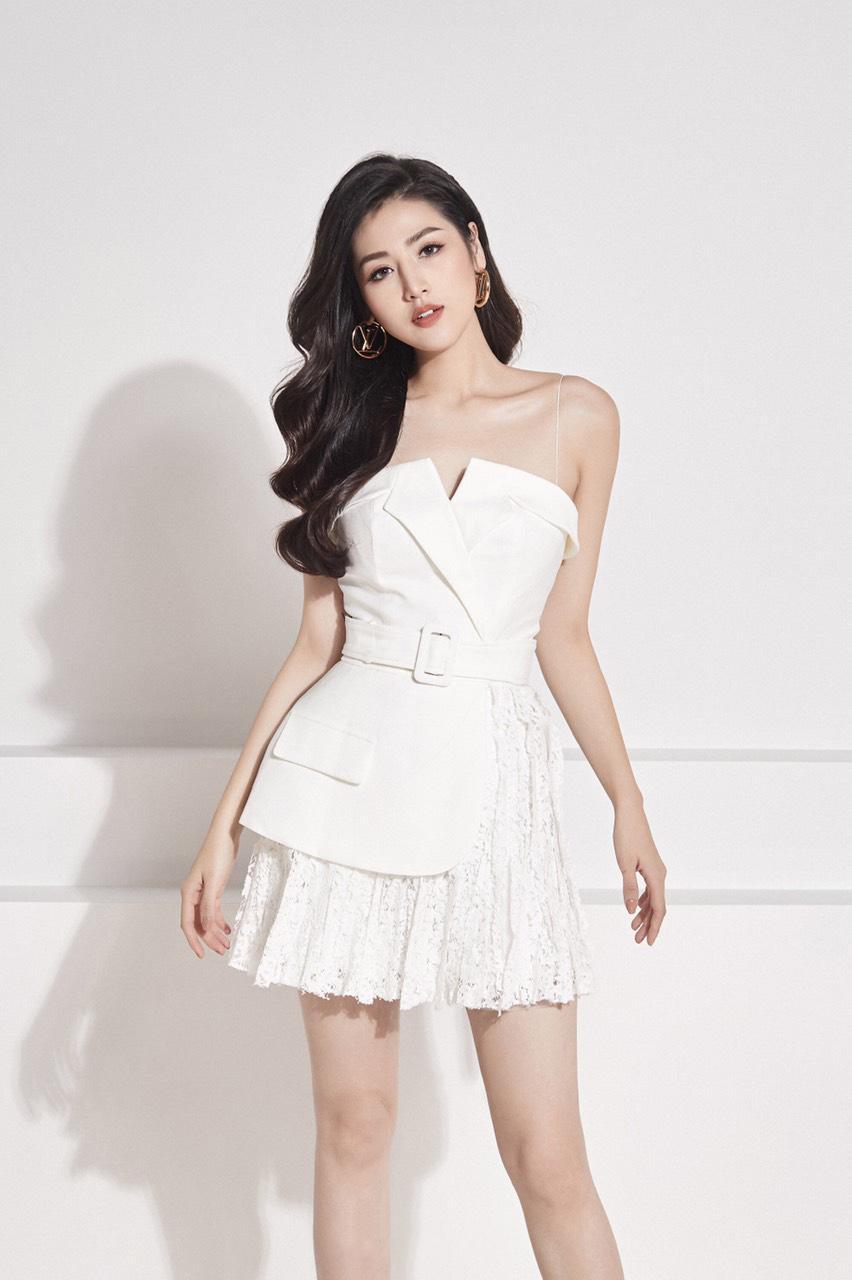 Đầm xòe cúp ngực 2 dây váy ren thiết kế thanh lịch cao cấp #2381