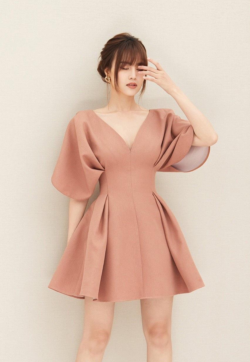 Đầm xòe tay liền thân xếp ly đôi #2382