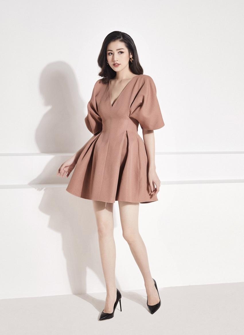 Đầm xòe tay liền thân xếp ly đôi thiết kế tinh tế cao cấp #2382