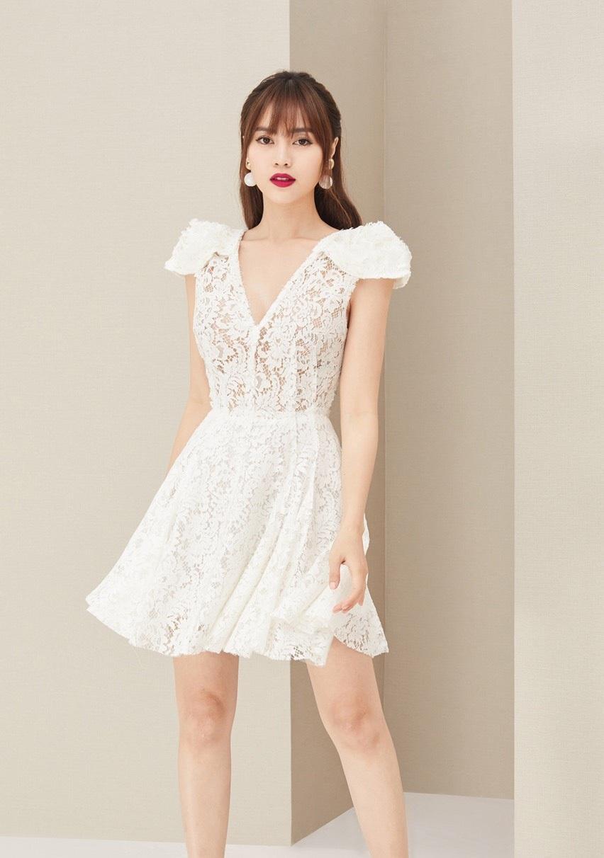 Đầm xòe ren cổ V tay phồng thiết kế nữ tính cao cấp #2383