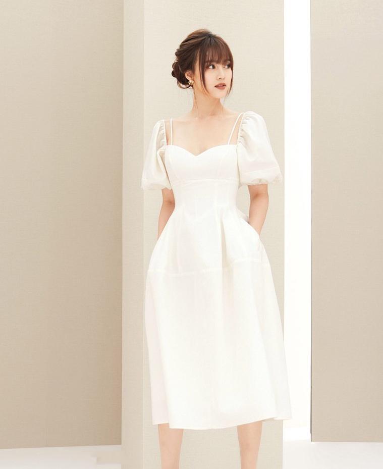 Đầm xòe cúp ngực tay phồng thiết kế nữ tính cao cấp #2396