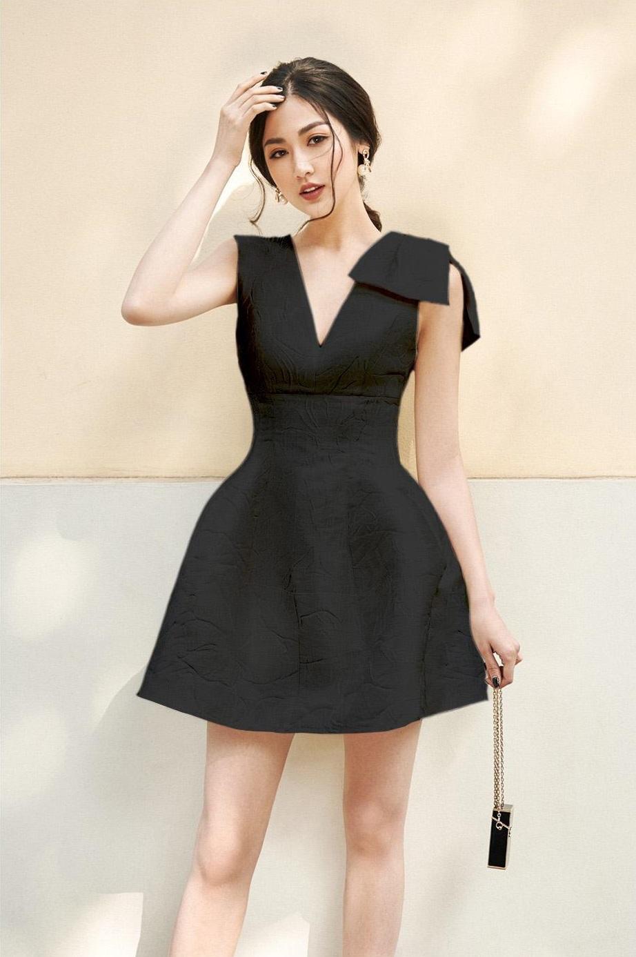 Đầm xoè cổ V nơ vai #2666