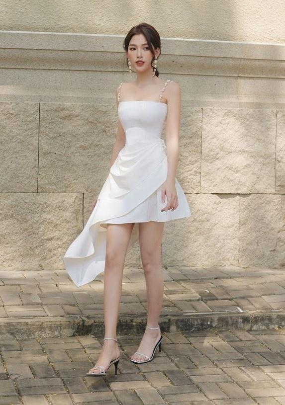 Đầm xòe 2 dây ngọc trai lai váy xéo thiết kế thanh lịch cao cấp #2477