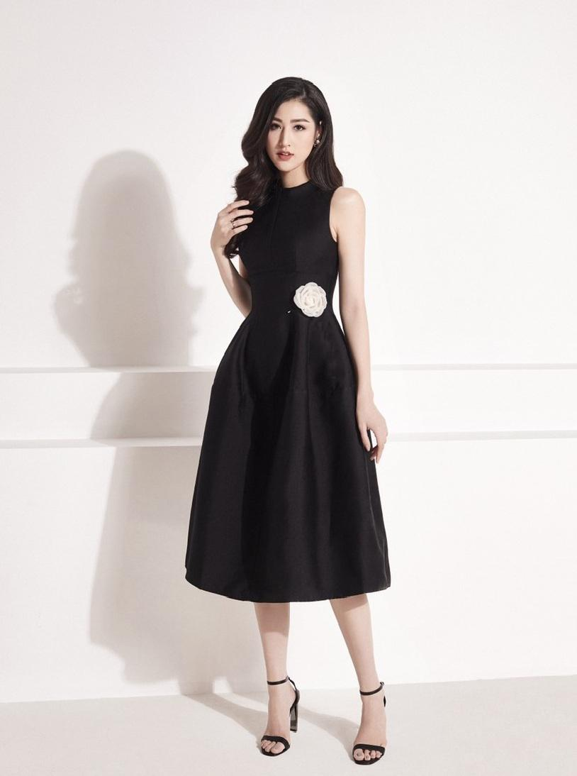 Đầm xòe sát nách cổ tròn thiết kế nữ tính cao cấp #2482