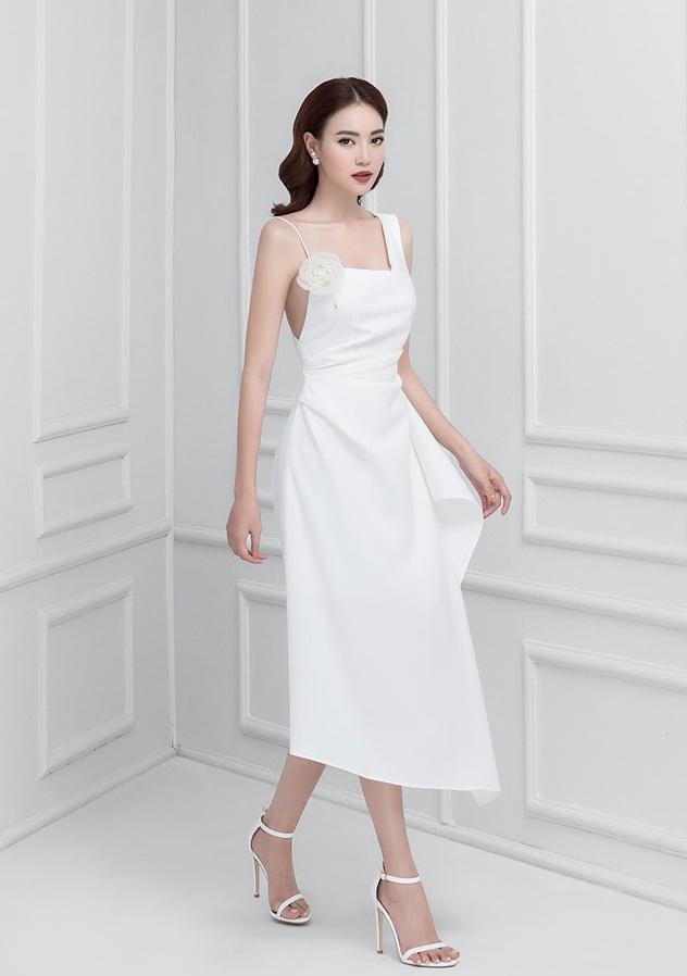 Đầm xòe lệch vai váy bèo hông #2533