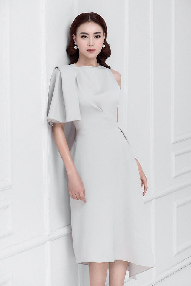 Đầm xòe lệch vai tay phồng thiết kế quyến rũ cao cấp #2536