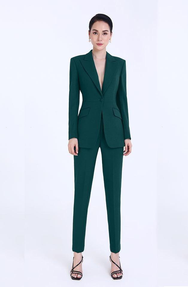 Set vest áo kết 1 nút ống đứng thiết kế sang trọng cao cấp #2547