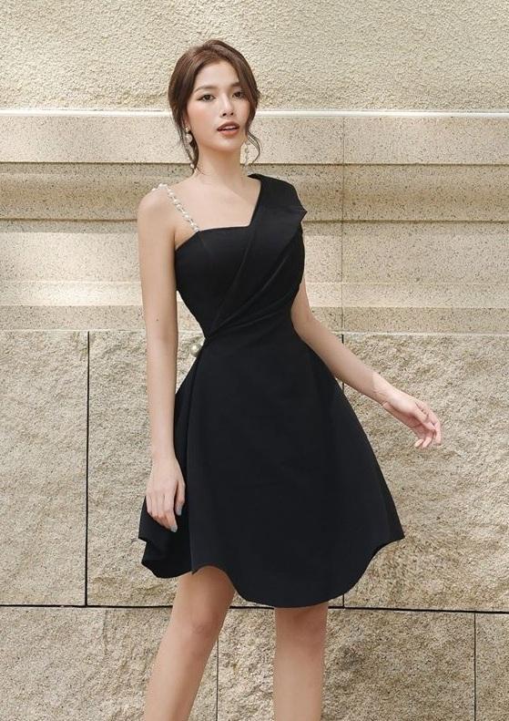 Đầm xòe dây ngọc trai lá cổ vest thiết kế thanh lịch cao cấp #2550