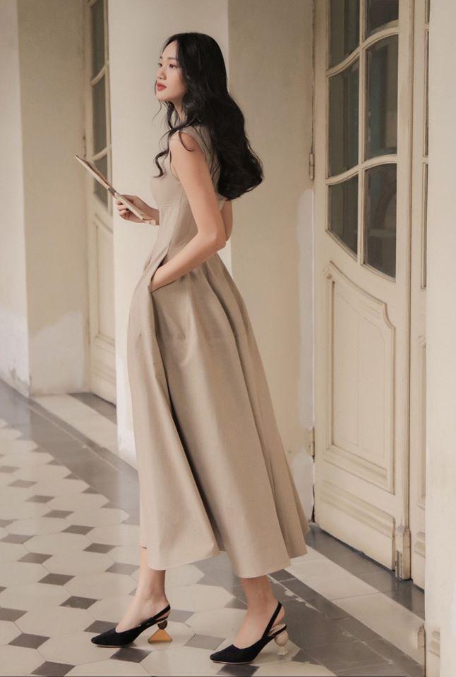 Đầm sát nách váy phồng dài thiết kế thanh lịch cao cấp #2557