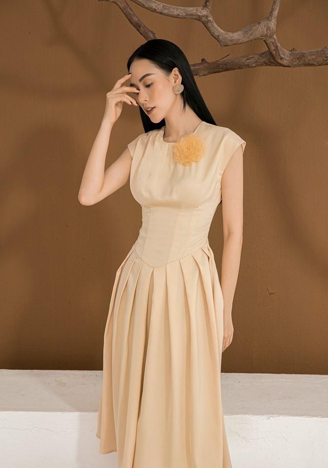 Đầm xòe cổ tròn váy xếp ly thiết kế nữ tính cao cấp #2577