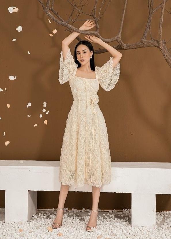 Đầm ren xòe váy nhiều mảnh thiết kế thanh lịch cao cấp #2586