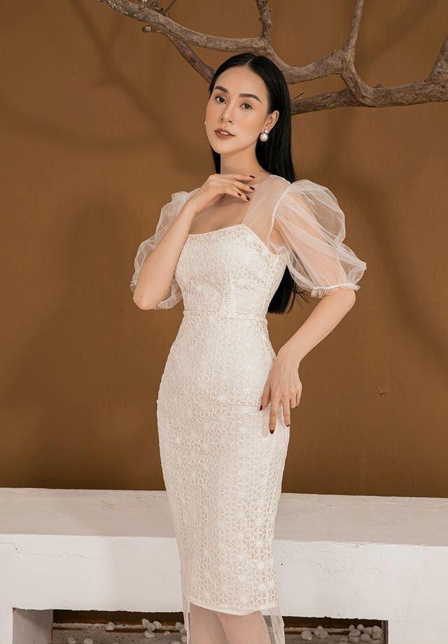 Đầm body ren tay lưới phồng thiết kế nữ tính cao cấp #2593