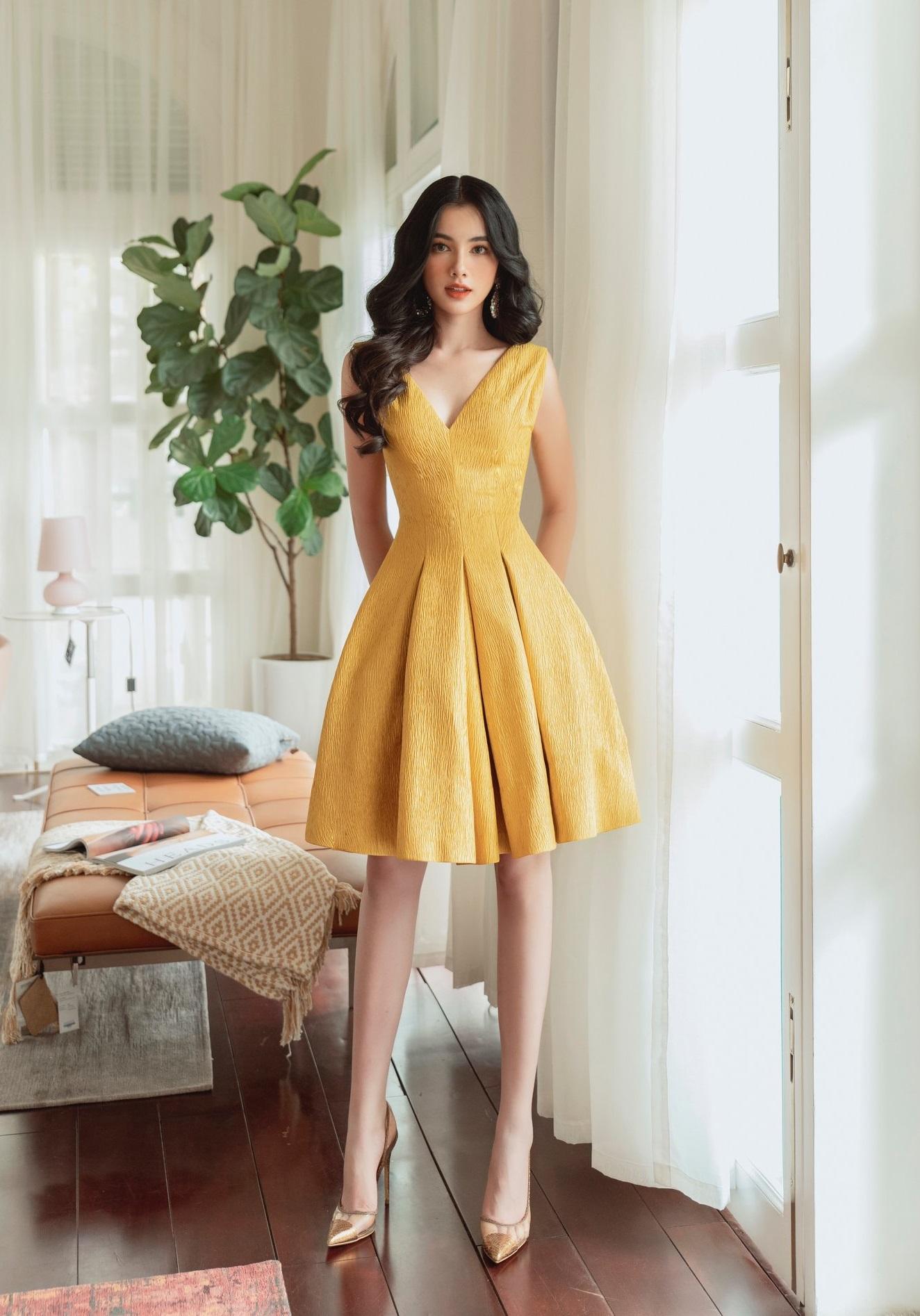 Đầm xoè cổ V ngắn #2891