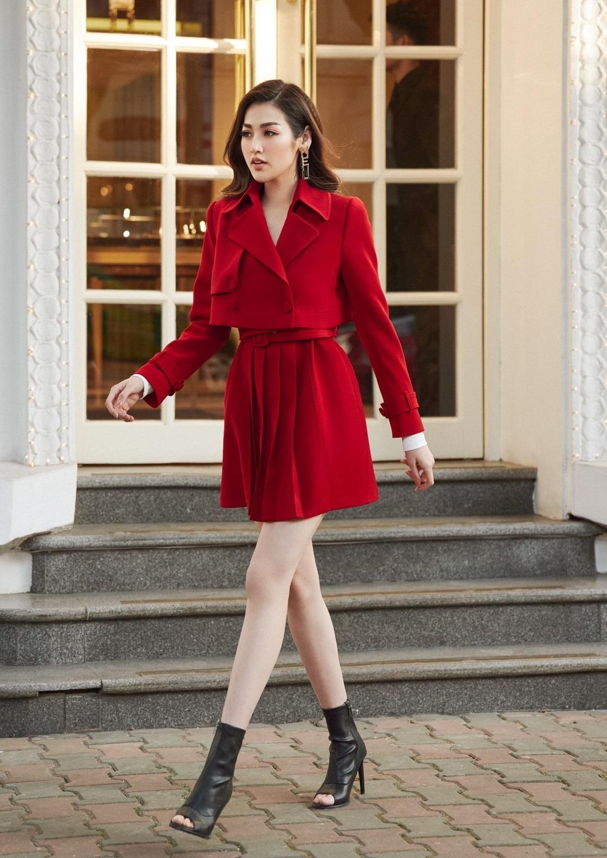 Set áo vest tay dài váy xếp ly #2625