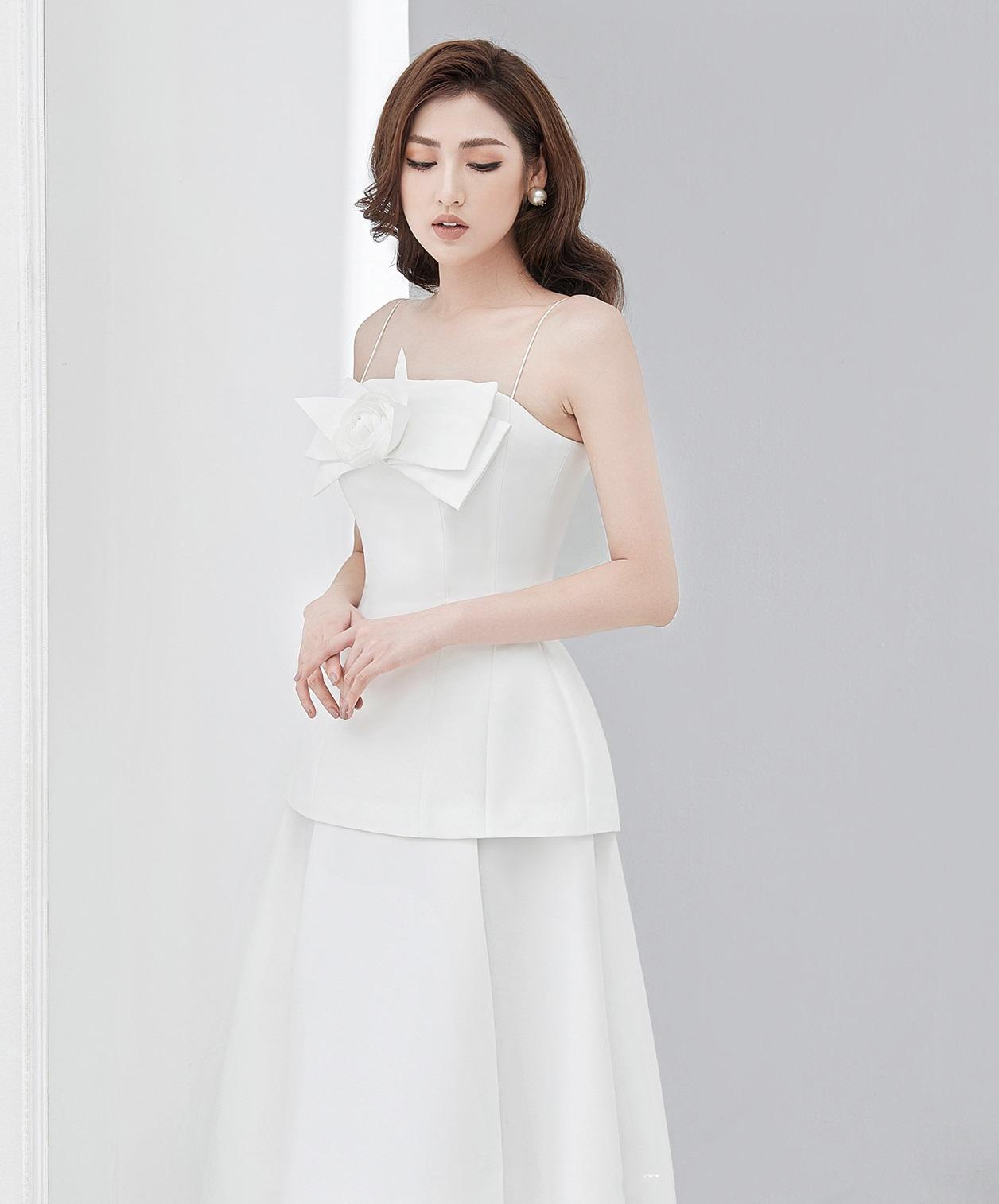 Set váy áo 2 dây ngực nơ hoa #2840