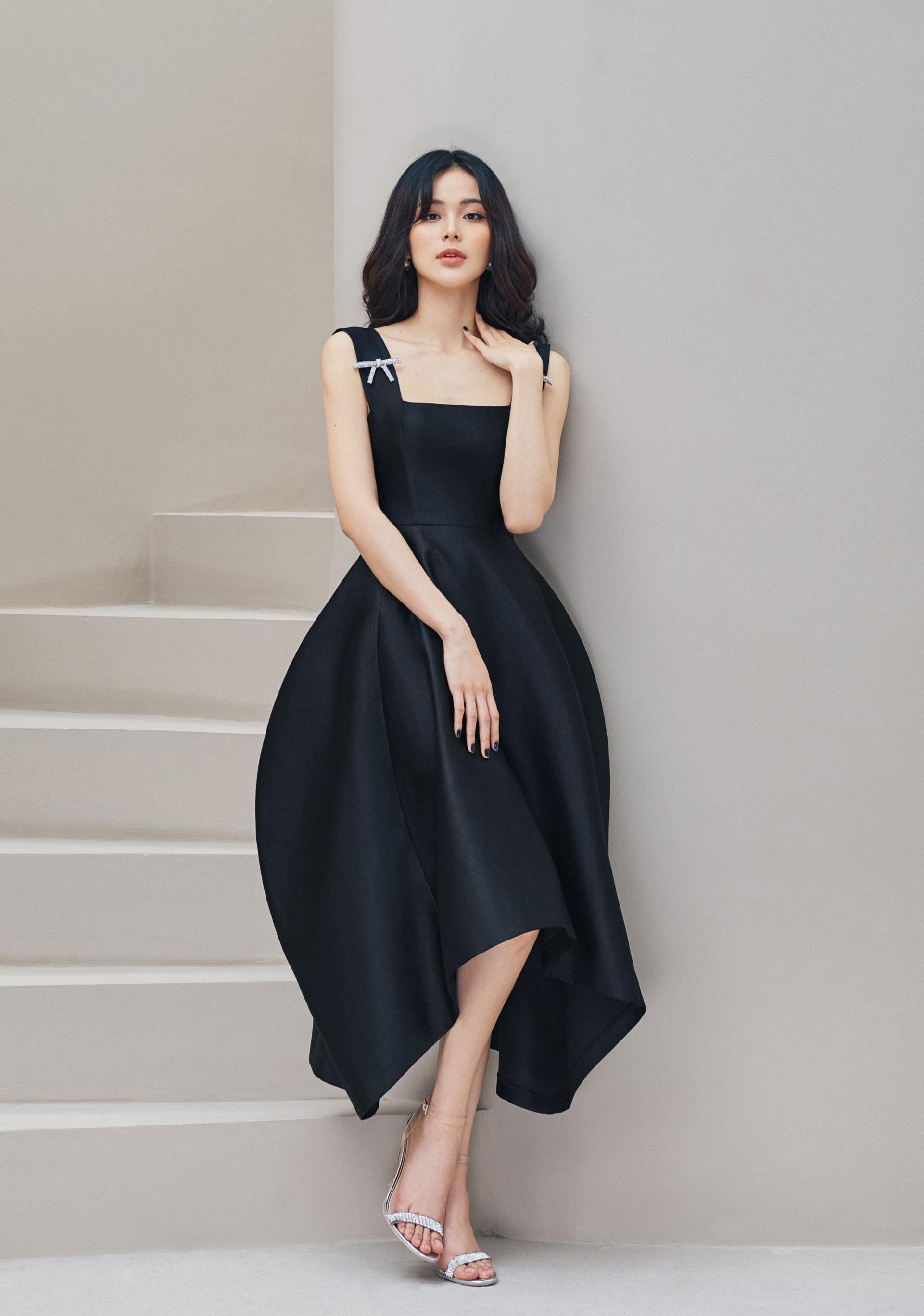 Đầm xoè cổ vuông đính nơ váy phồng #2915